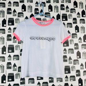 "Wildfox | NWT ""Holidazed"" Pink Trim White T-shirt"